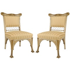 Pair Of Herter Bros. Gilded And Upholstered Side Chairs