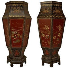 19th c. English Regency Chinoiserie Floor Vases