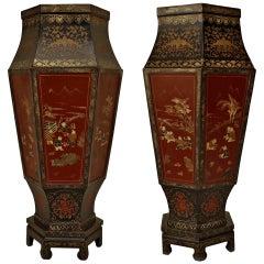 19th c. English Regency Chinoiserie Floor Vases