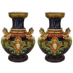 Pair Of Elaborate 19th c. Sarreguemine Majolica Vases