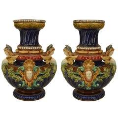 Pair Of Elaborate 19th c. Sarreguemine Majolica Vases