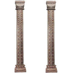 Pair Of 19th c. Moorish Inlaid Teak Columns