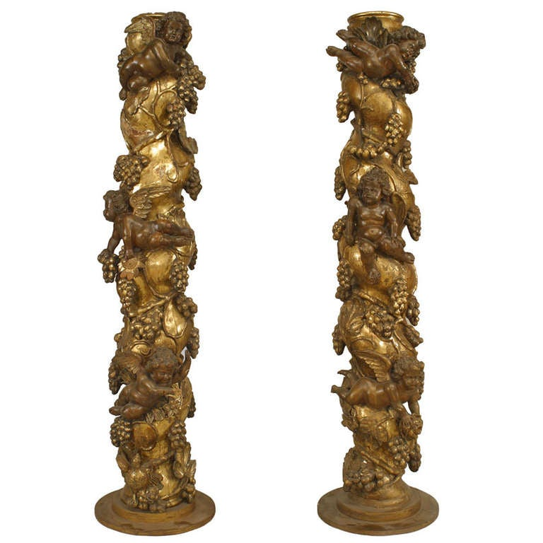 Pair Of 17th/18th c. Italian Baroque Columns With Cherub And Harvest Carvings