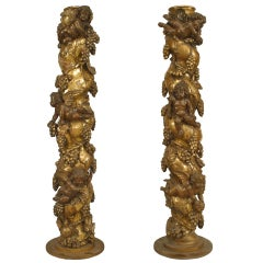 Pair of Italian Baroque Gilt-wood Carved Columns