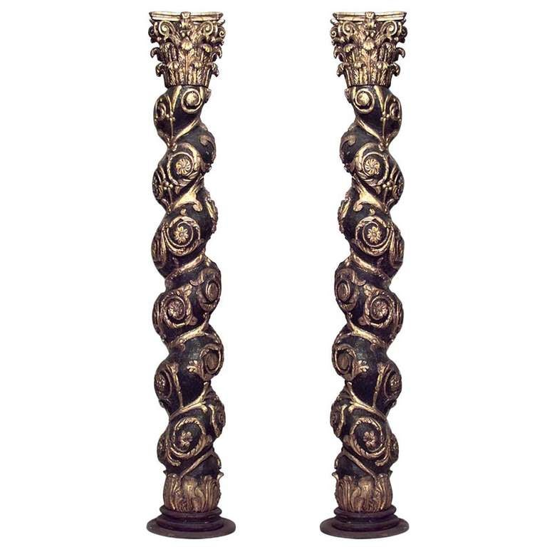 Pair Of 19th c. Baroque Style Gilded Solomonic Columns