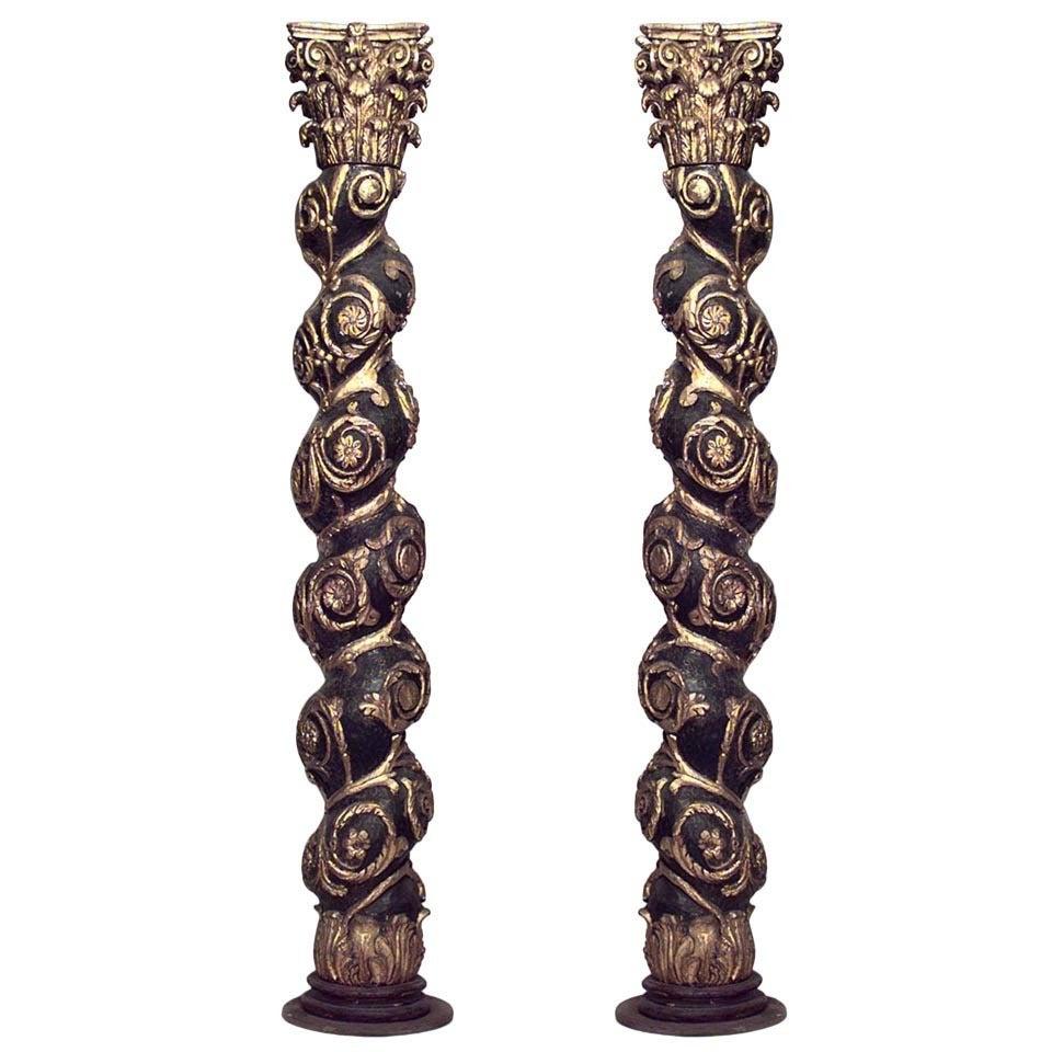 Pair of 19th Century Baroque Style Gilded Solomonic Columns