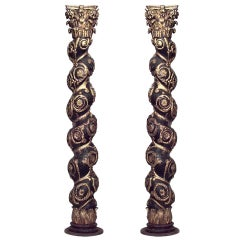 Pair of 19th Century Baroque Style Gilded Solomonic Columns