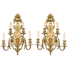 Pair of 19th Century French Neoclassical Bronze Wall Sconces
