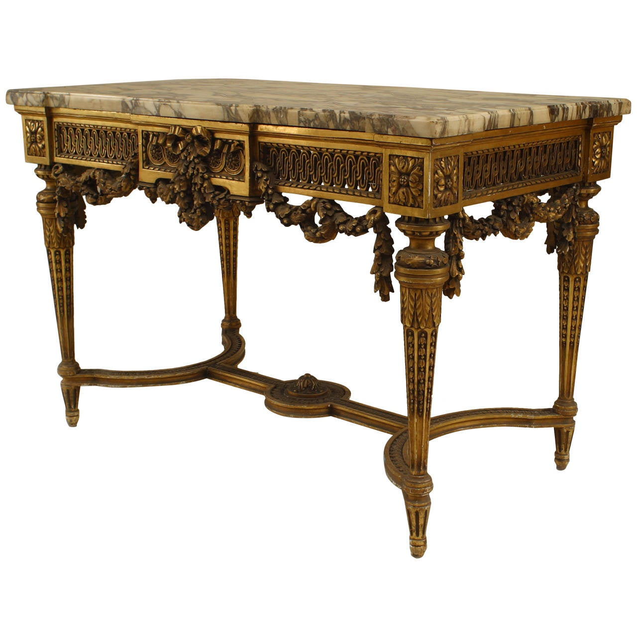 19th Century French Louis XVI Style Gilt Center Table For Sale