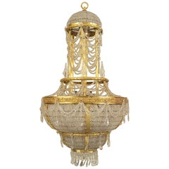 French Louis XVI Style Ormolu and Beaded Crystal Large Chandelier