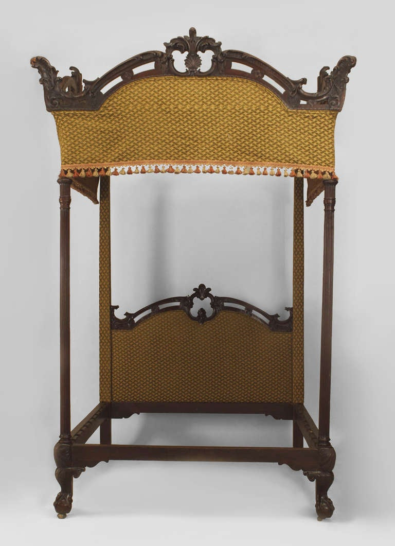 Four Poster Bed 19th C English Chippendale Style Four Poster Bed For Sale At 1stdibs