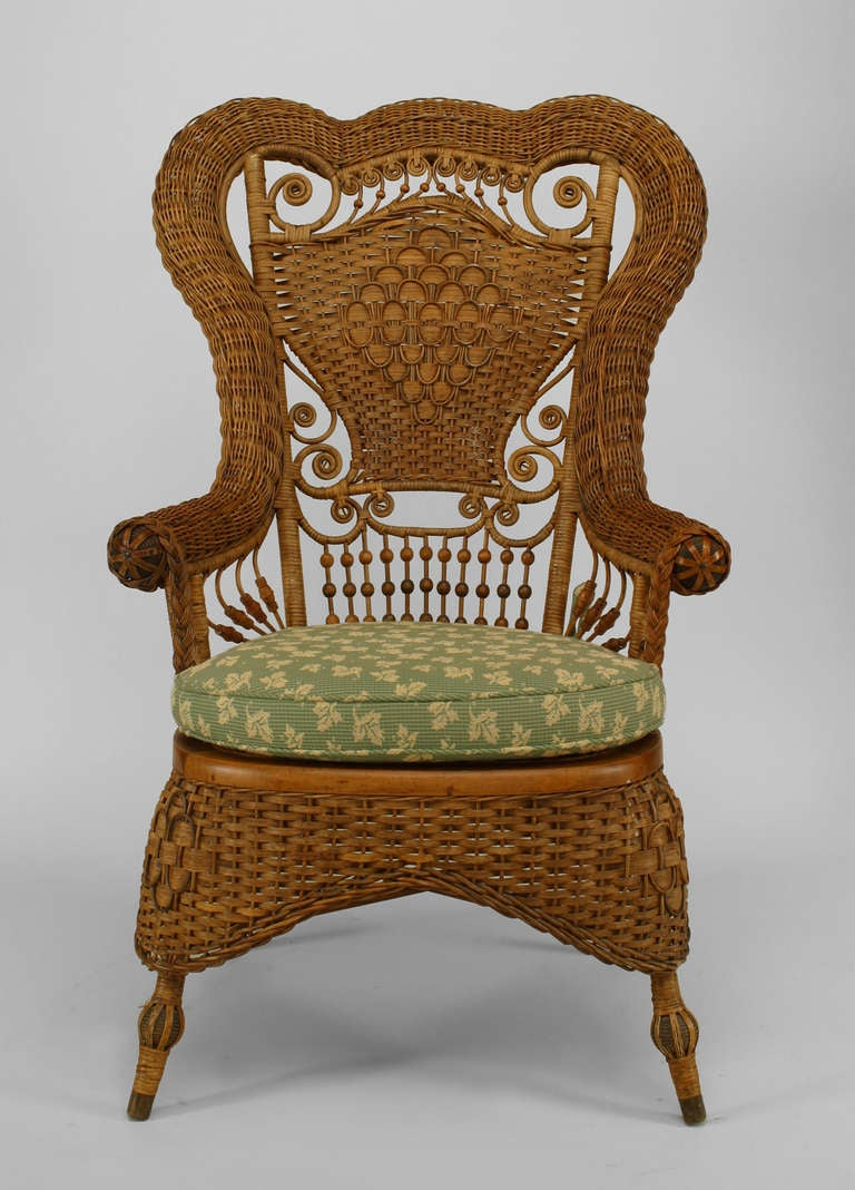 19th c. Whitney Reed High Back Wicker Armchair 6