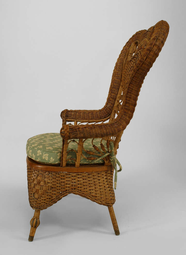 19th c. Whitney Reed High Back Wicker Armchair 5