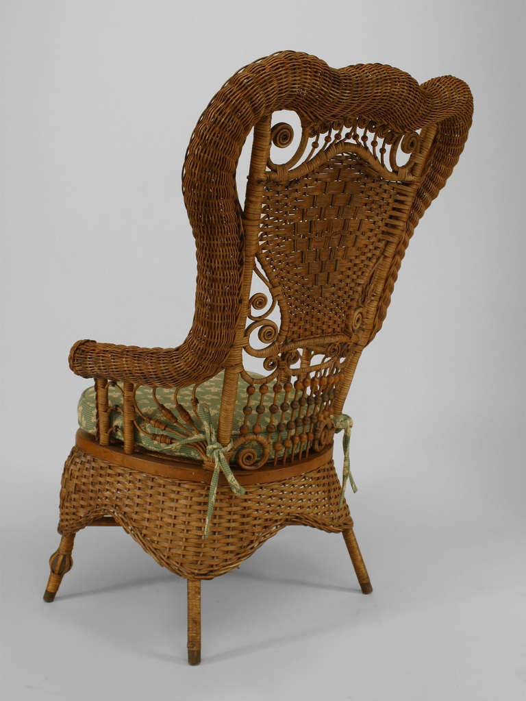 American 19th c. Whitney Reed High Back Wicker Armchair For Sale