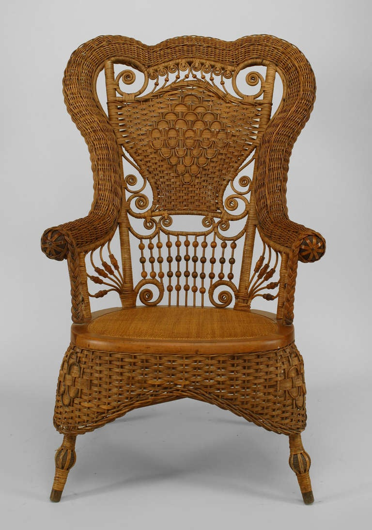 19th c. Whitney Reed High Back Wicker Armchair 3