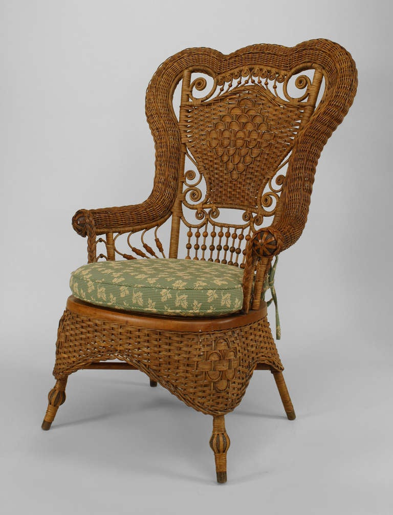 19th c. Whitney Reed High Back Wicker Armchair 2