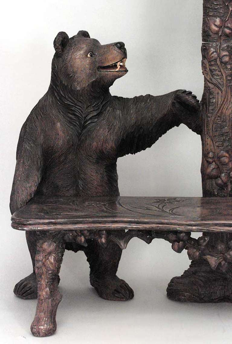 20th C Black Forest Bear Form Settee And Hat Rack For
