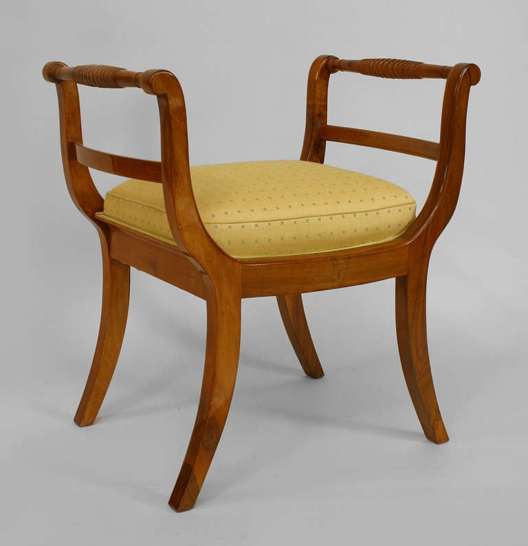 Pair of Upholstered Walnut Biedermeier Benches c. 1820 3