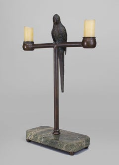 19th Century Marble and Bronze Parrot Candelabra