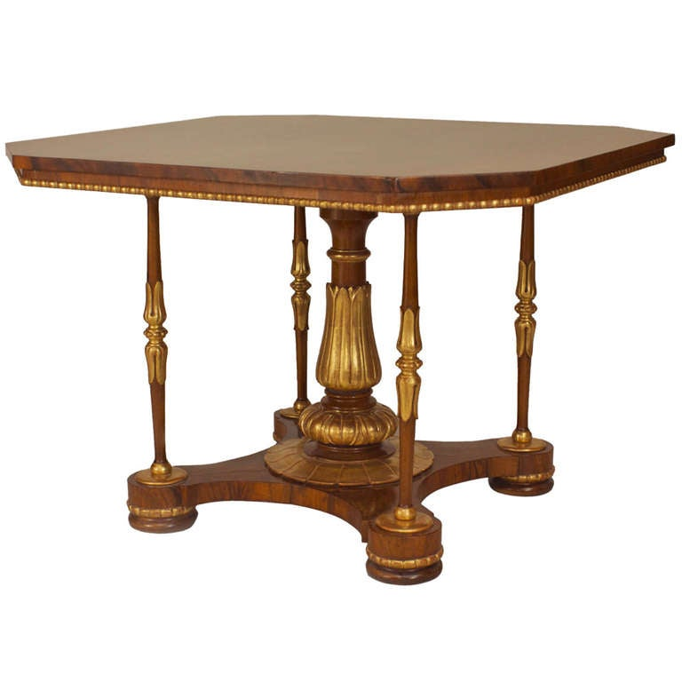 English Regency Walnut Center Table