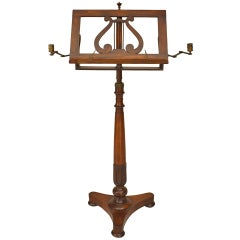 19th C. Rosewood Music Stand With Brass Candleholders