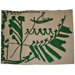 Green and White Tapestry Designed by Pablo Picasso, 1965