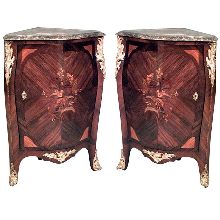Pair of 19th c. Louis XV Style Inlaid Corner Cabinets
