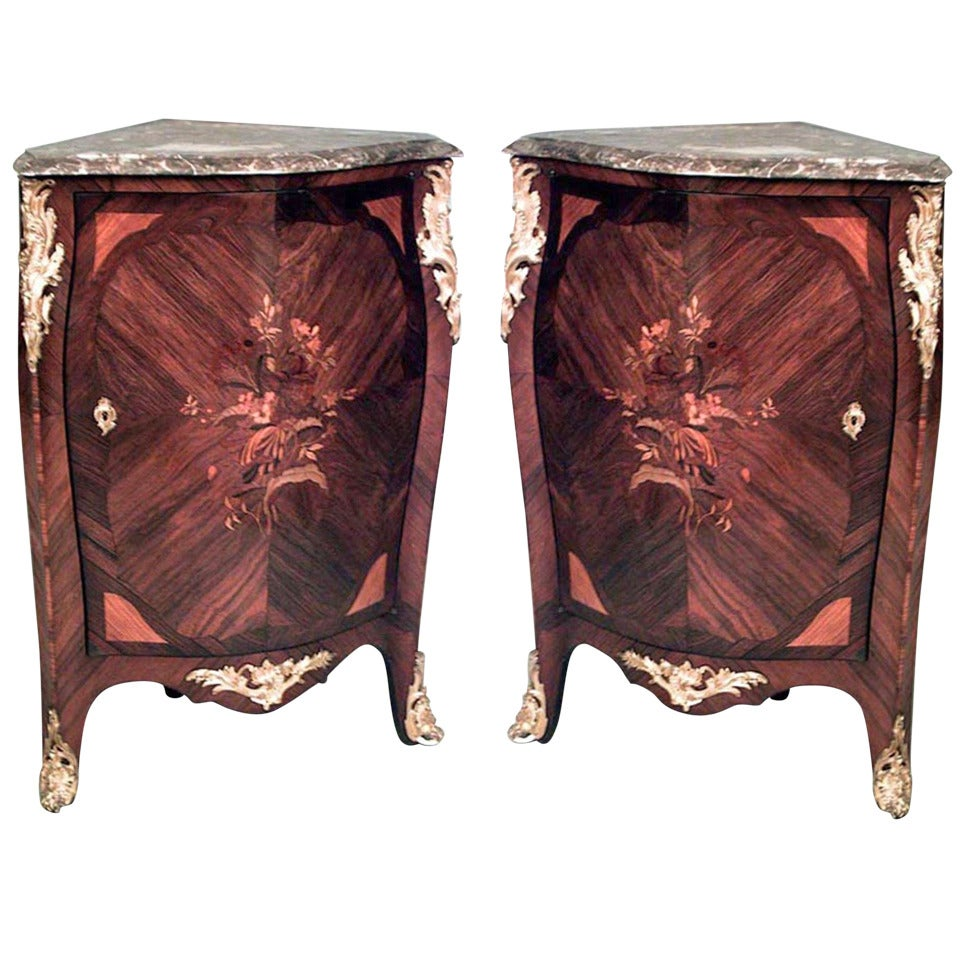 Pair of French Louis XV Corner Cabinets