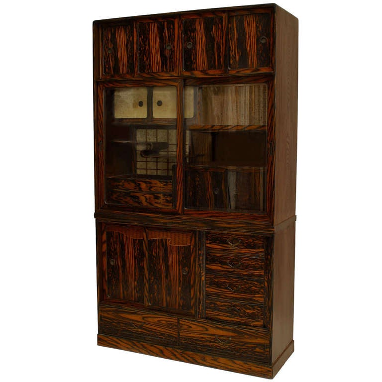Asian Persimmon And Keyaki Wood Etagère Cabinet For Sale