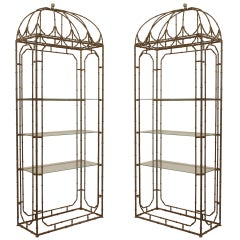 A Pair of Regency Style Faux Bamboo Etagères
