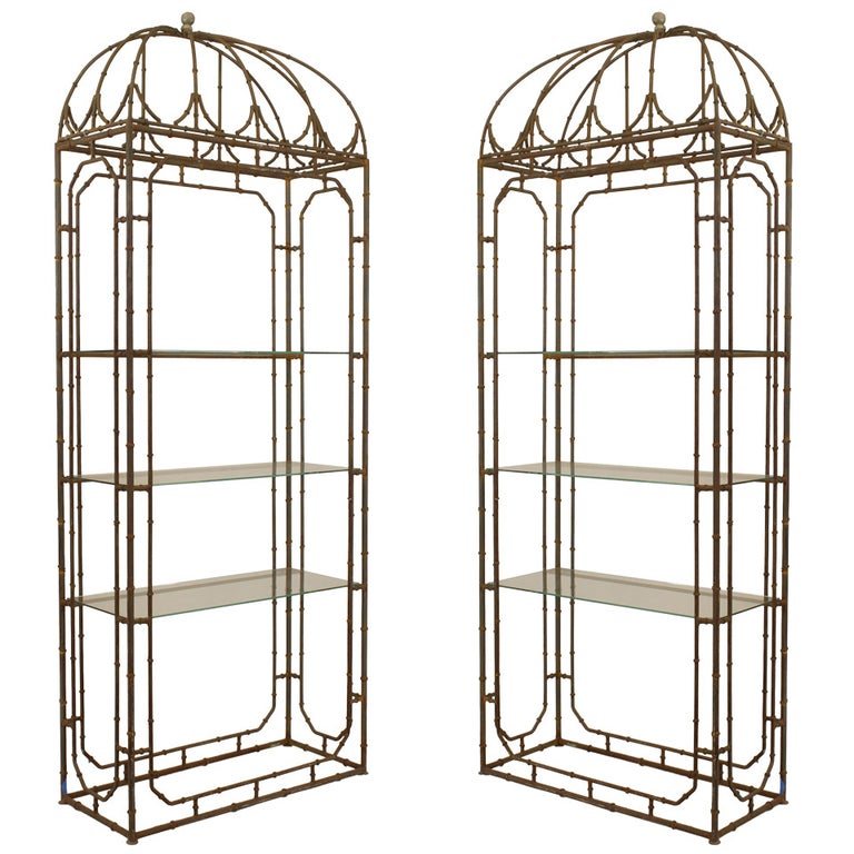 Pair of Regency-style faux bamboo étagères, early 20th century, offered by Newel