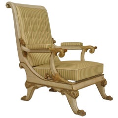 Fine Italian Empire painted and Parcel Gilt Arm Chair
