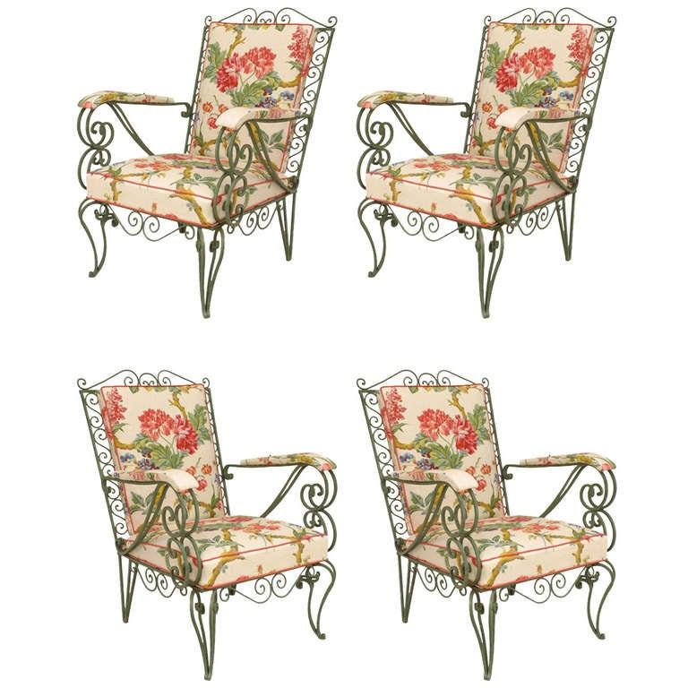 A Unique Set of 4 French 1940's Iron Armchairs at 1stdibs