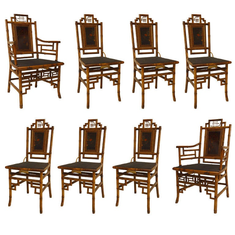 Set of 8 Geometric 19th c. English Bamboo Chairs 1