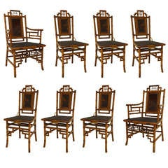 Set of 8 Geometric 19th c. English Bamboo Chairs