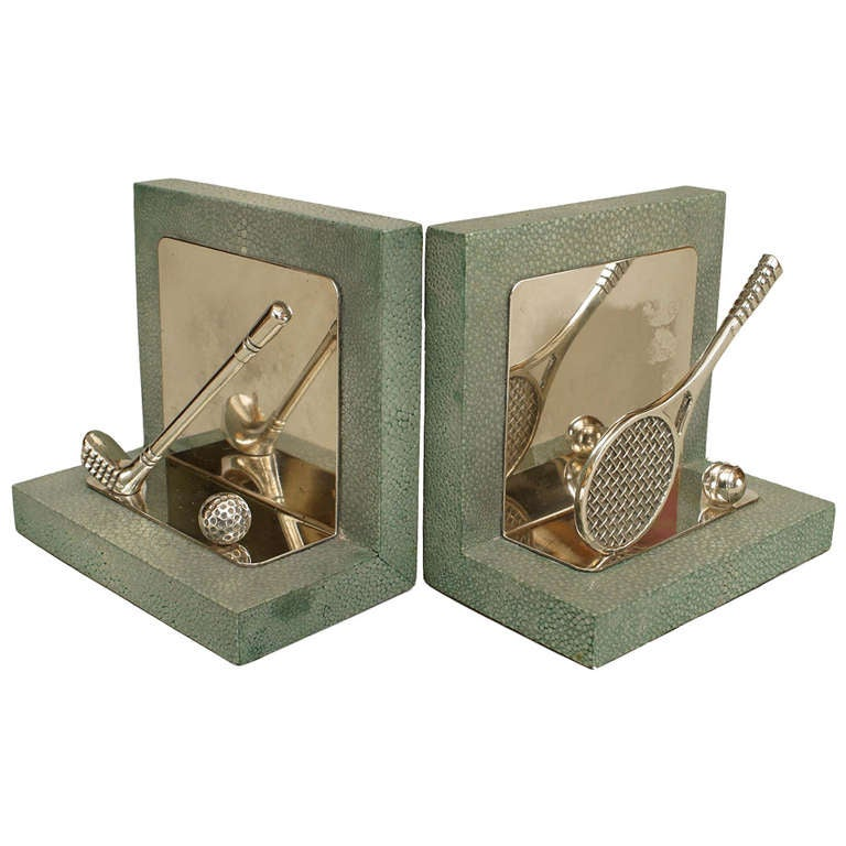 Pair of Art Deco Sports-Themed Shagreen Bookends