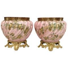 Pair of Limoges Porcelain Cachepots on Bronze Dore Bases