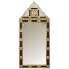Monumental 20th c. Moorish Style Mother of Pearl Inlaid Mirror