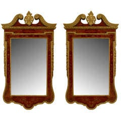 Pair of Queen Anne 18th c. Parcel Gilt Chinoiserie Wall Mirrors