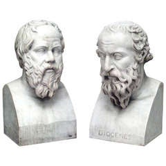 Pair of 19th Century Marble Busts Portraying Classical Philosophers