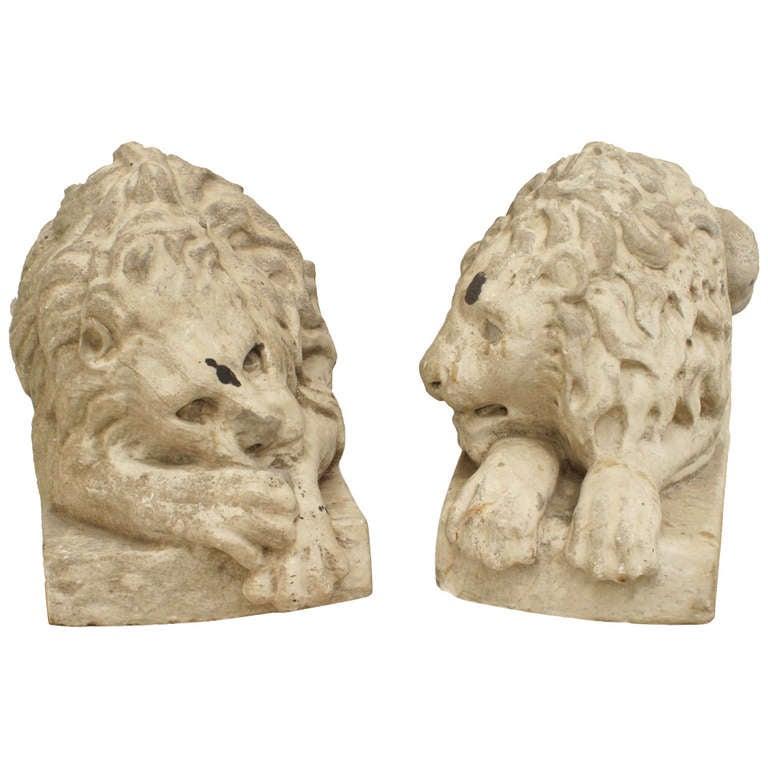 Pair of 19th Century Italian Marble Recumbent Lions