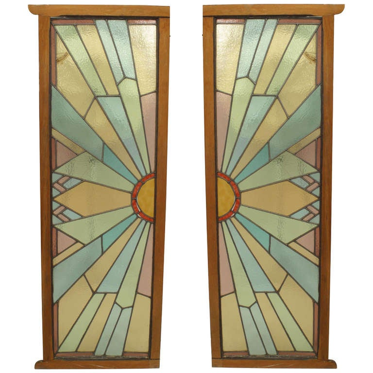 Pair of french art deco stained glass doors at 1stdibs - Deco glace ...