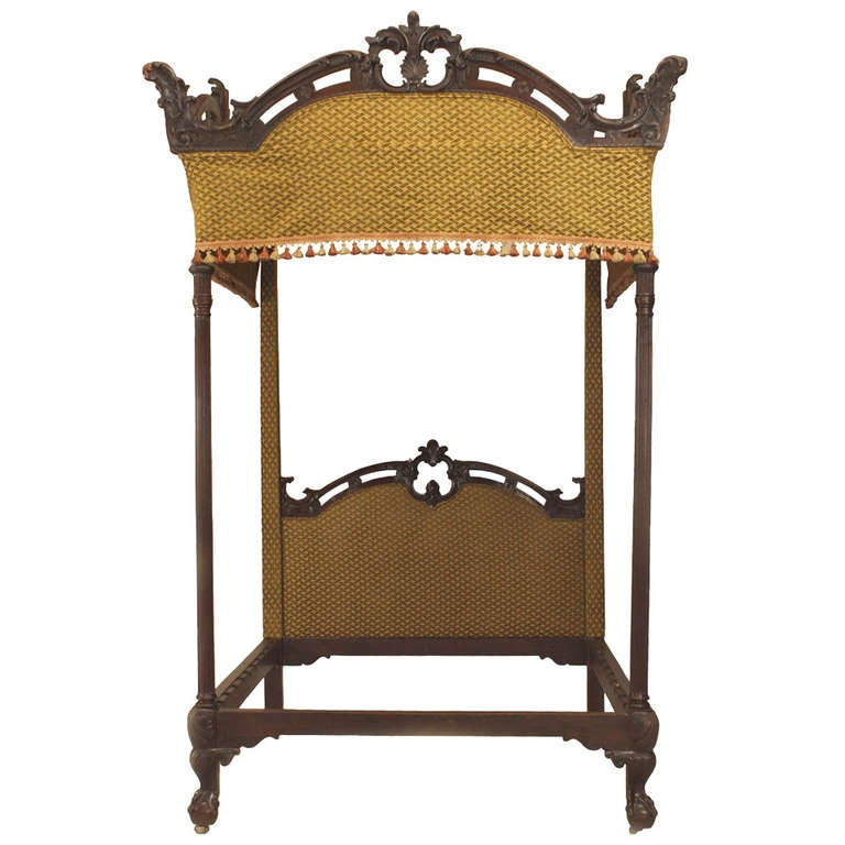english chippendale style four poster bed 1