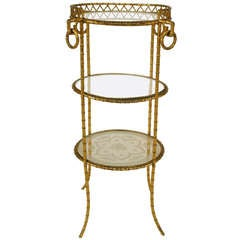 19th c. French Bronze Dore Muffin Stand By Alphonse Giroux