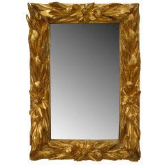 18th c. Italian Rococo Gilt Wood Wall Mirror