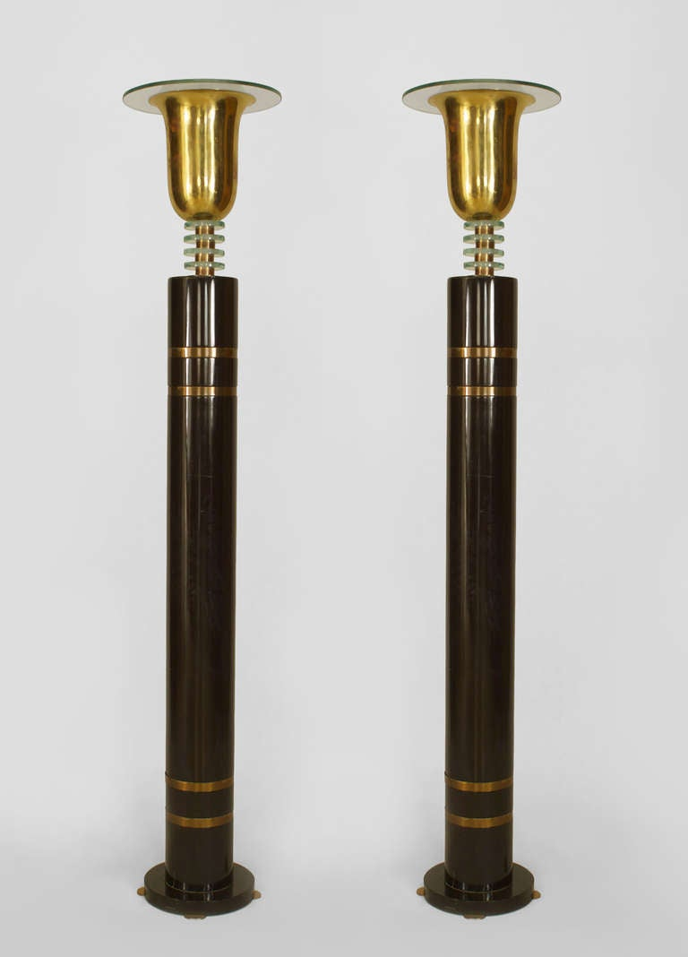 pair of french art deco floor lamps at 1stdibs. Black Bedroom Furniture Sets. Home Design Ideas