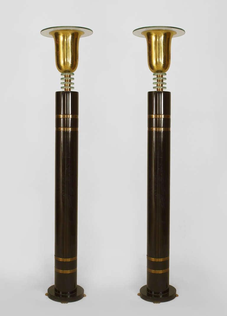 Pair of french art deco floor lamps at 1stdibs for Floor standing art deco lamp