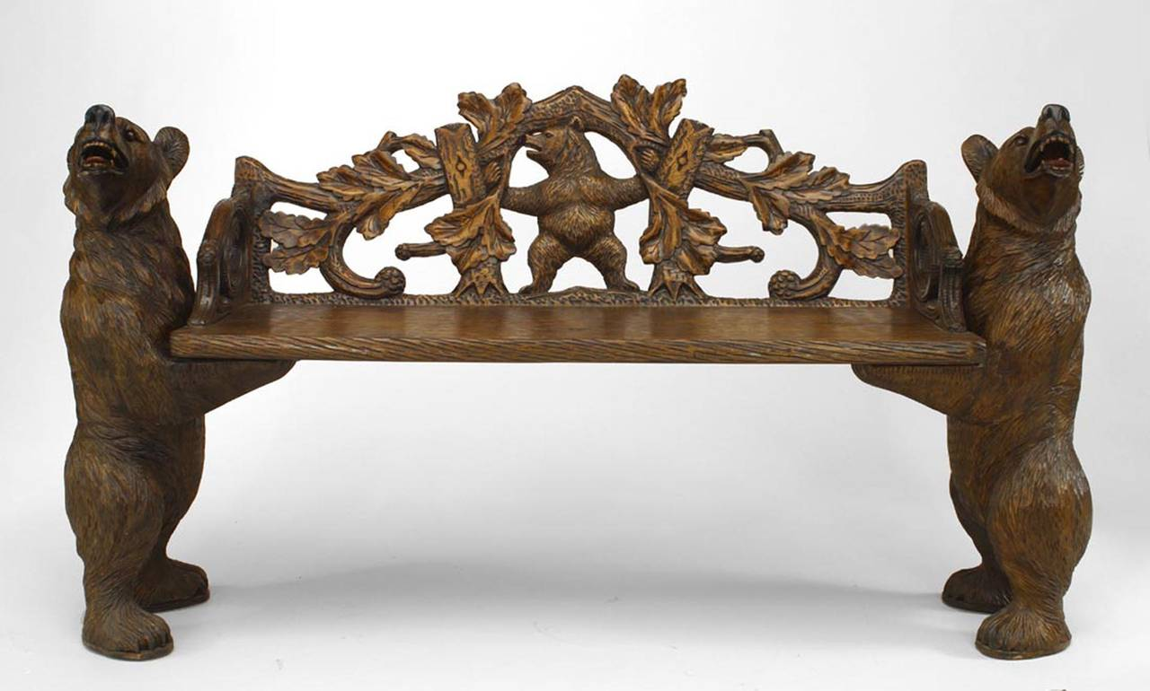 20th Century Continental Black Forest Carved Walnut Bench