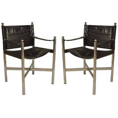 Pair of American Art Moderne Chrome and Leather Armchairs