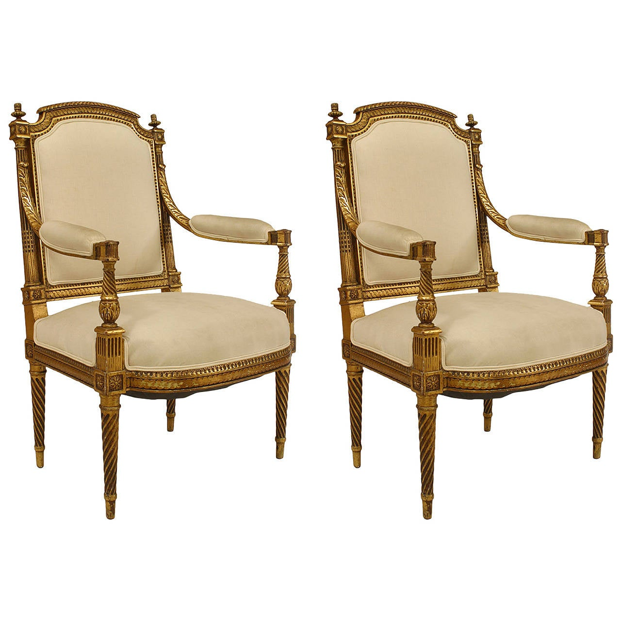 Pair of 19th Century French Louis XVI Gilt Carved Armchairs